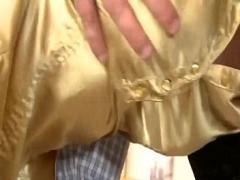 Sex videotape recording category cumshot (338 sec). Slutty euro glam brunette gets tits full of cum.