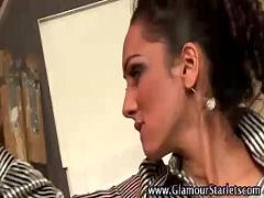 Full amorous video category lingerie (338 sec). European stockings brunette gets fucked.