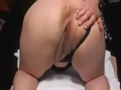 Sexy movie category squirting (284 sec). Becky white lady squirt and bent over shifting her pants with dildo.