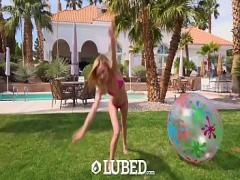 XXX seductive video category cumshot (633 sec). LUBED Blonde skinny Kenzie Kai fucked outdoors on slip n slide.