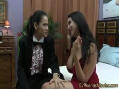 Sexy seductive video category lesbian (375 sec). Busty latina lez scissors.